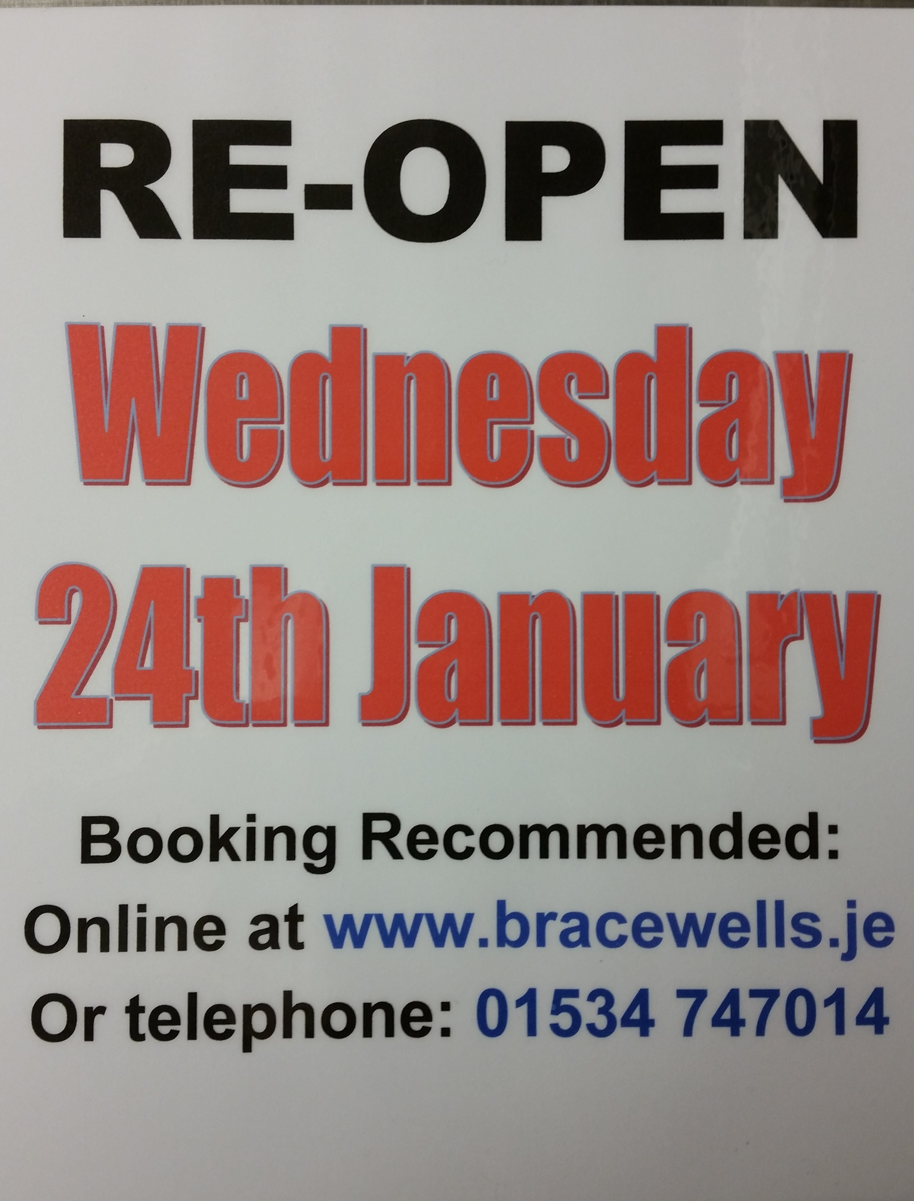 RE-OPEN 24TH JANUARY 2018.