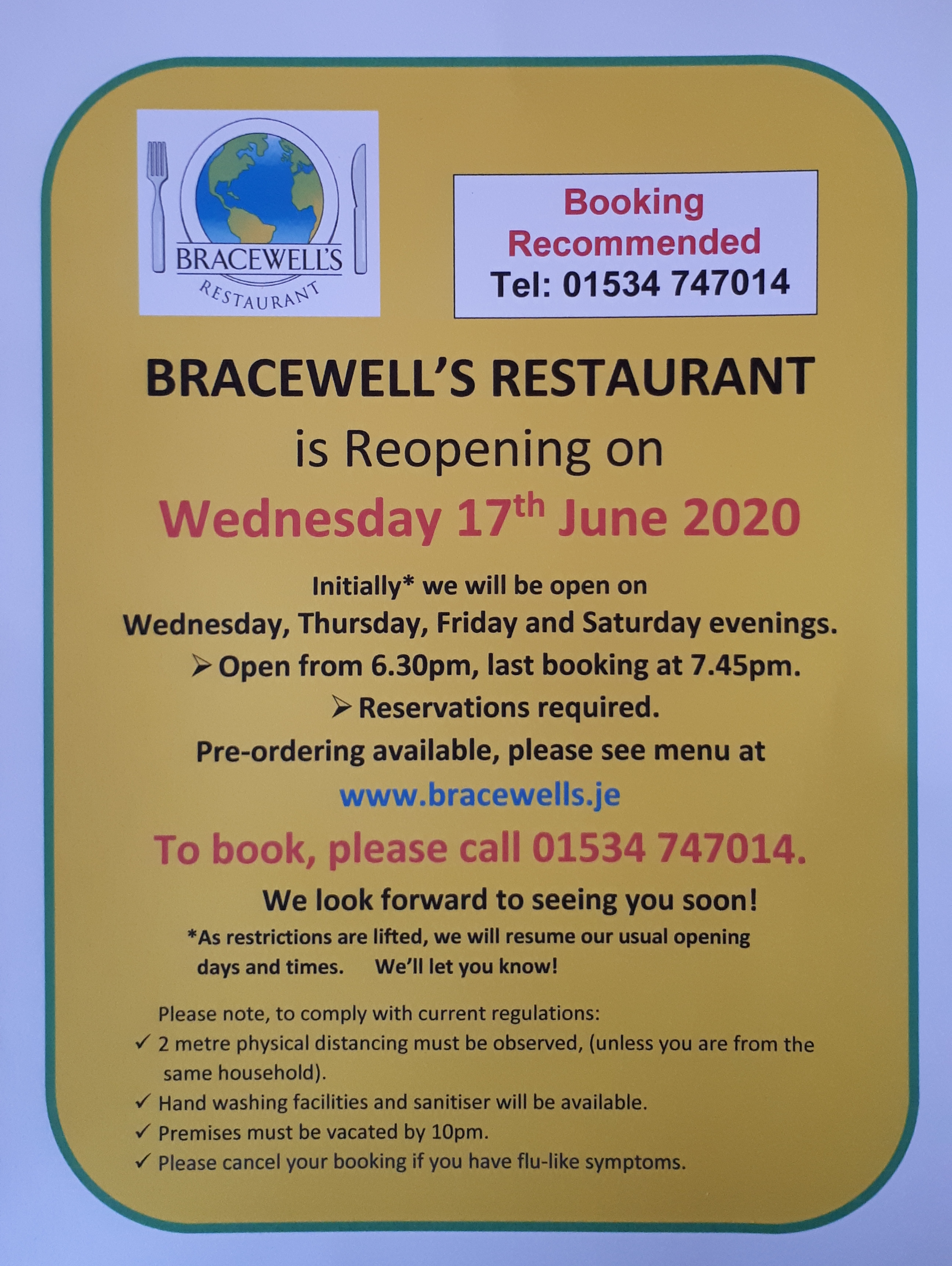 REOPENING Wednesday 17th June 2020!!